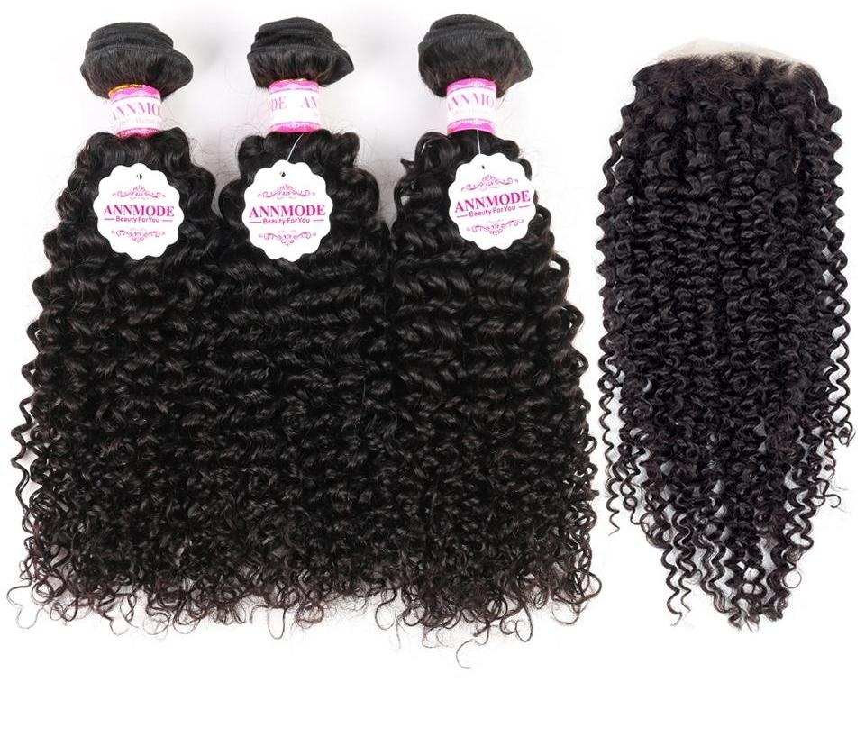 Non-remy Afro Brazilian Kinky Curly Hair Bundles With  4x4 Free part Closure