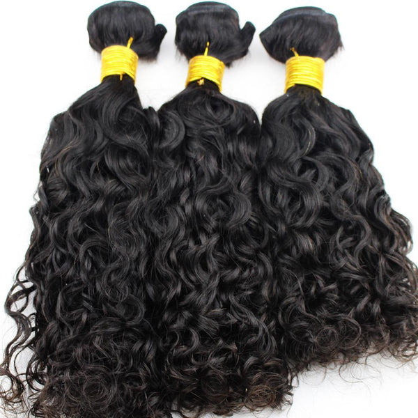 Brazilian Wet and Wavy Human Hair Weave Bundles Natural Color 10