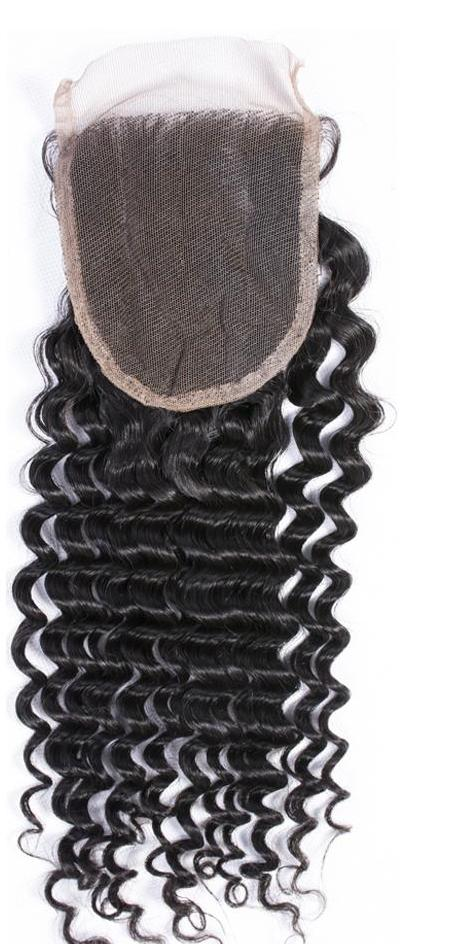 "Brazilian Remy Hair Curly Swiss Lace Closure Size 4""x4"" Free Part Can Match Human Hair Bundles"