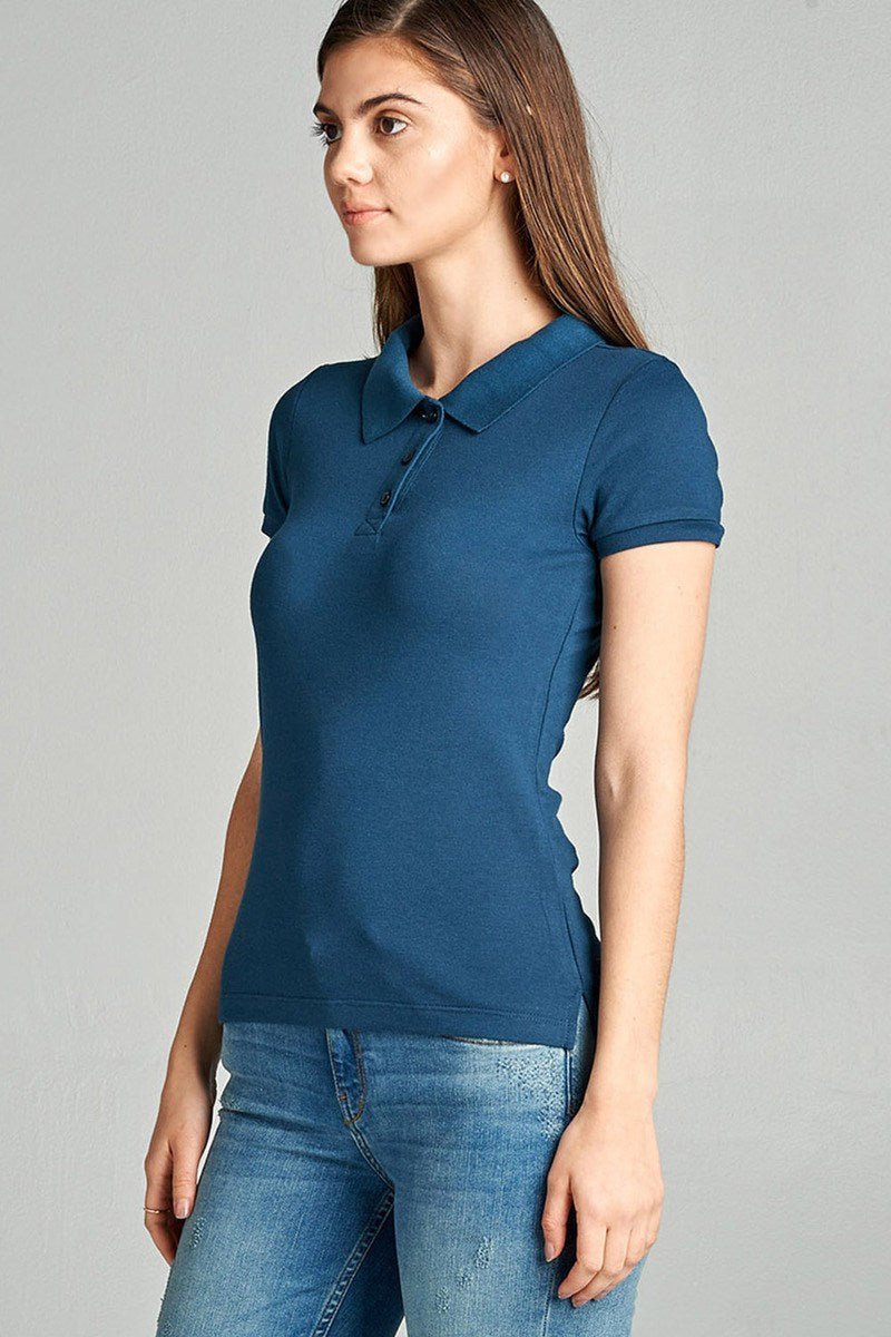 Ladies fashion classic pique polo top