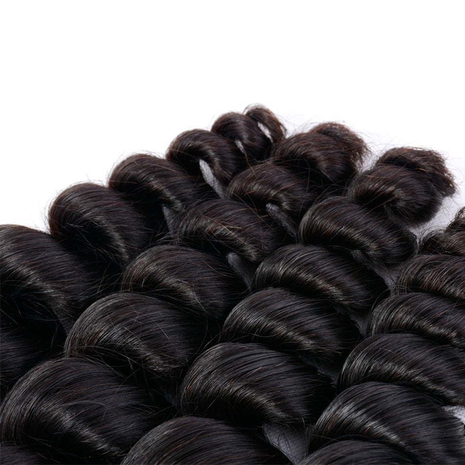 Remy Peruvian Loose Wave Bundles Human Hair Extensions in Natural Black Color