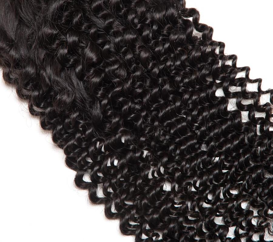 Non Remy Malaysian Kinky Curly Hair with 4x4 Lace Closure with Baby Hair