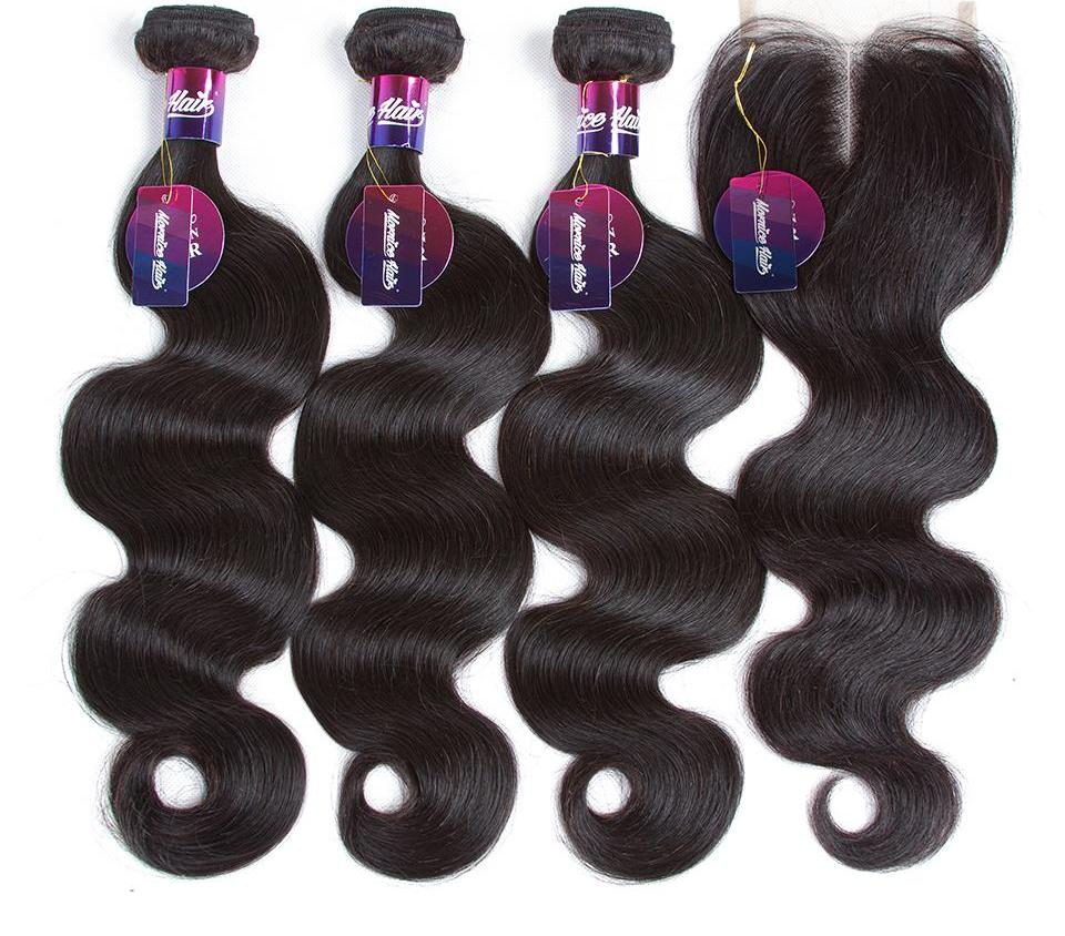 Non Remy Brazilian Body Wave with Middle Part Lace Closure in 3 Bundles