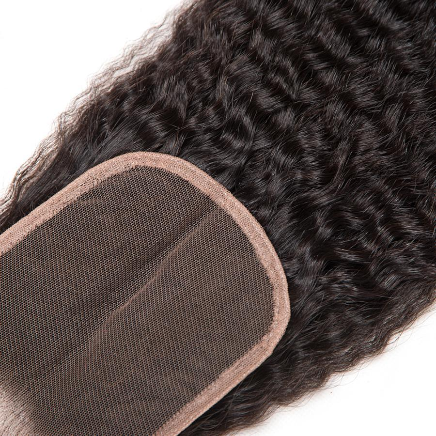 Non Remy Brazilian Kinky Straight Hair with Lace Closure with Baby Hair