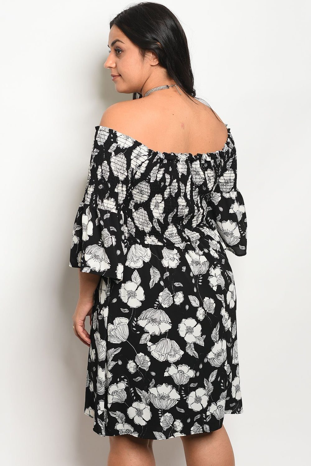Ladies fashion plus size floral print off the shoulder  skater dress