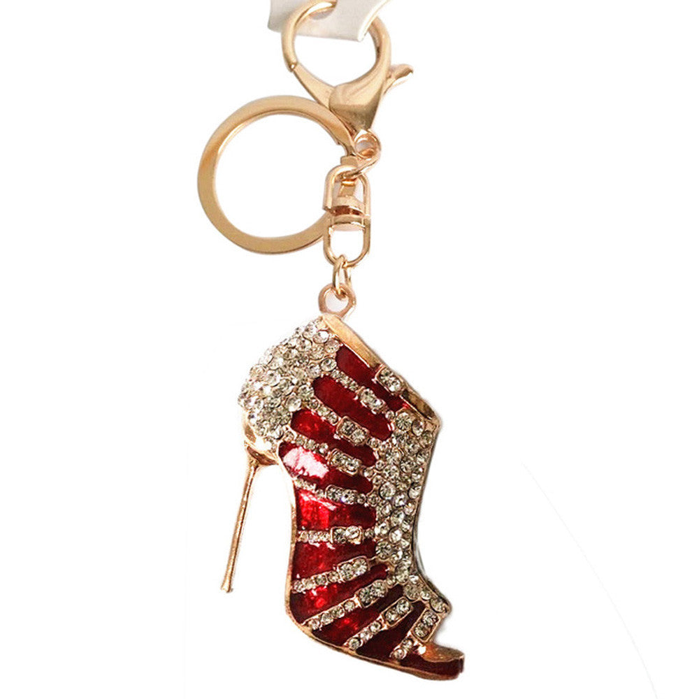 Charm Crystal Shoe High Heel Keyring Purse