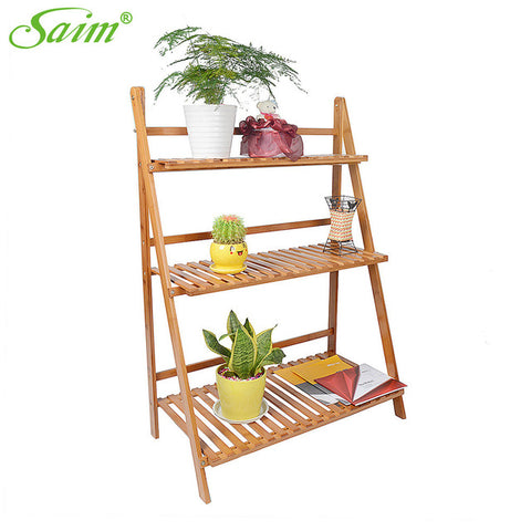 3 Tier Bamboo Plant Stand Display Garden Decor Planter Holder Flower Storage Flower Rack Multi-layer Flowerpot Rack YWHBJJ05167