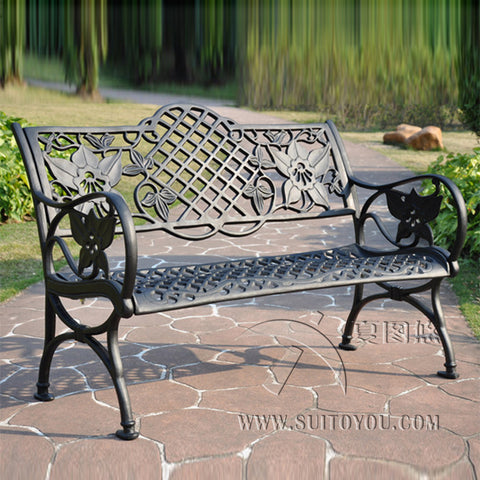 3 person cast aluminum good quality luxury durable park bench garden chair for outdoor