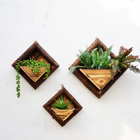 WCIC Pastoral Hanging Square Retro Wood Frame Metope Flowerpot Storage Basket Pendant Home Garden Flower Pot Wall Decoration