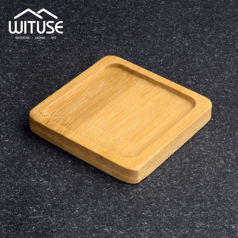 WITUSE Ceramic Flowerpot Bamboo Stand Indoor Fern Succulent Plant Holders Saucers Desktop Bonsai Pot Bamboo Flower Planters Tray