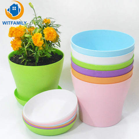 Plastic modern flower POTS Planters a variety of colors plant bonsai with tray stand Desktop balcony house decoration flower pot