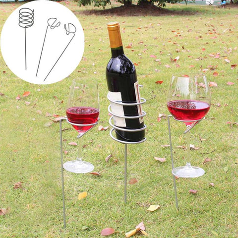snowshine3 YLW Wine Glass & Bottle Holder Stake Set For BBQ Garden Picnic Camping Wine Stakes