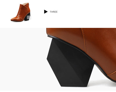 Geometric Design Ankle Boots - LuisaMora