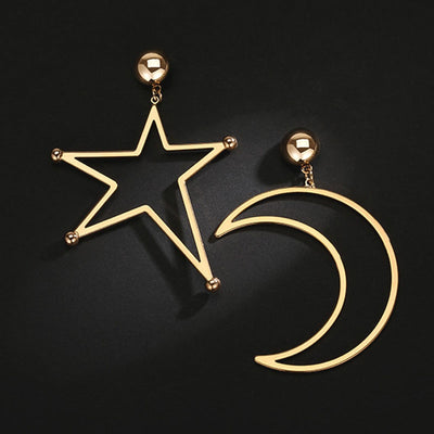 Exaggerated Large Hollow Star Moon Shaped Asymmetrical Dangle Earrings Cool Big Earrings Girls Bijoux Top Quaity - LuisaMora