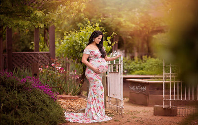 Floral Print Maternity Photo Shooting Dress - LuisaMora