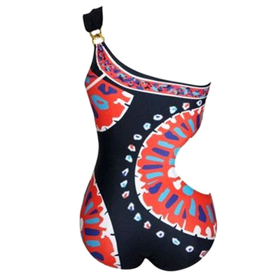 2018 One Shoulder Indian Motives Swimsuit - LuisaMora