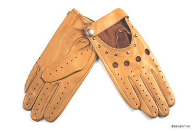 Genuine leather driving gloves
