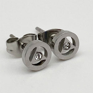 Stainless Steel Alcoholics Anonymous Stud Earrings with Crystal - Hypoallergenic