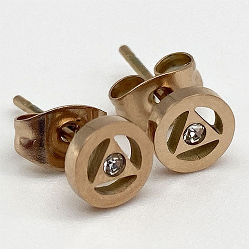 Rose Gold Stainless Steel Alcoholics Anonymous Stud Earrings with Crystal - Hypoallergenic
