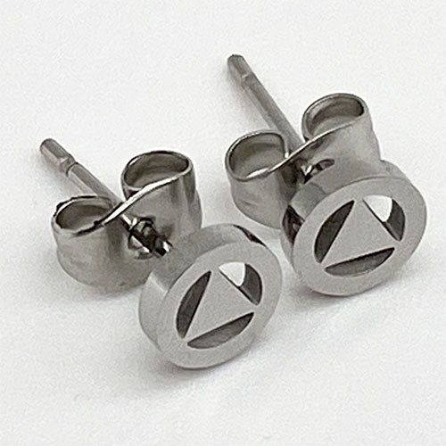 Stainless Steel Alcoholics Anonymous Stud Earrings - Hypoallergenic