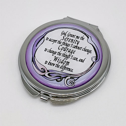 Compact Mirror - Purple Serenity Prayer