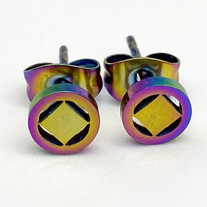 Rainbow Ionic Plated Stainless Steel Narcotics Anonymous Stud Earrings - Hypoallergenic