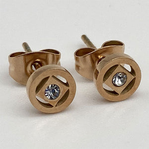 Rose Gold Stainless Steel Narcotics Anonymous Stud Earrings with Crystal - Hypoallergenic