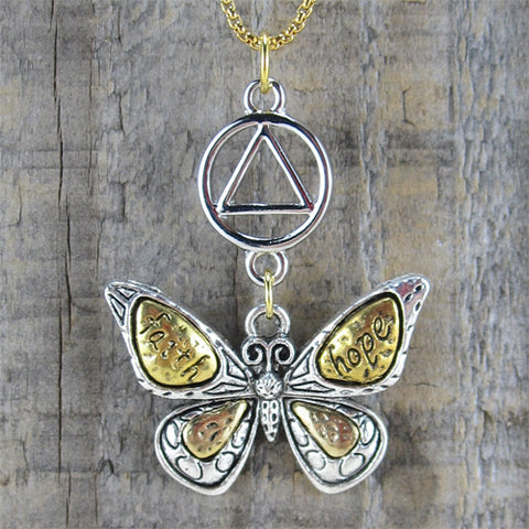 "Alcoholics Anonymous Butterfly Pendant - ""Hope & Faith"""