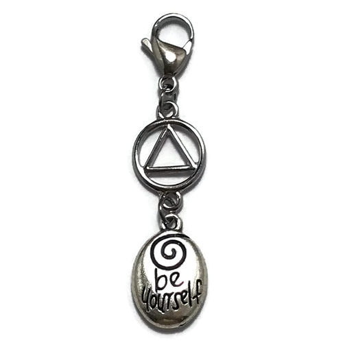 "Alcoholics Anonymous ""Be Yourself"" key tag charm"