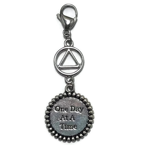 "Alcoholics Anonymous ""One Day at a Time"" key tag charm"