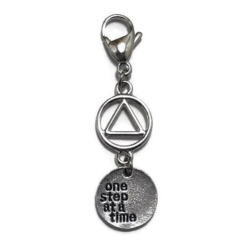 "Alcoholics Anonymous ""One Step at a Time"" key tag charm"