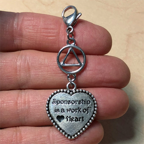"Alcoholics Anonymous ""Sponsorship is a work of Heart"" key tag charm"