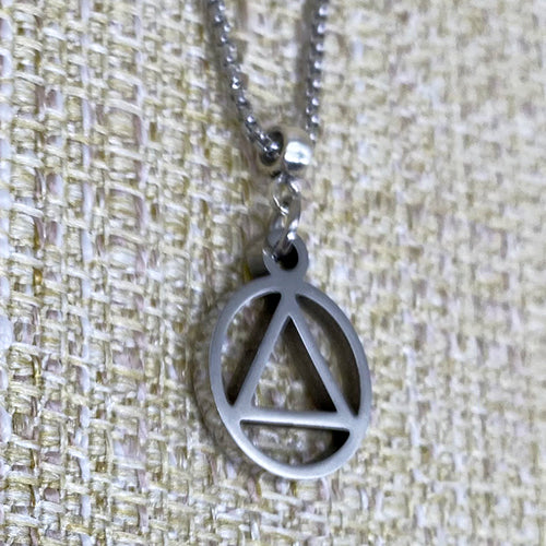 Small Alcoholics Anonymous Logo Stainless Steel Cutout Pendant