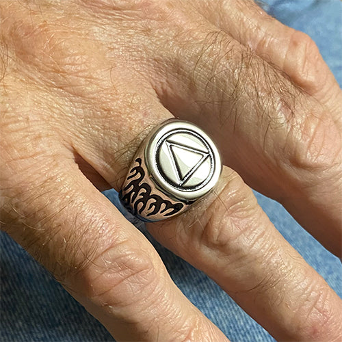 Stainless Steel Alcoholics Anonymous Ring for Men