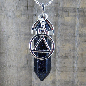 "Alcoholics Anonymous Blue Goldstone Pendant - ""Open-Mindedness"""