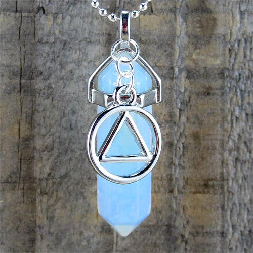 "Alcoholics Anonymous Opalite Pendant - ""Surrender"""