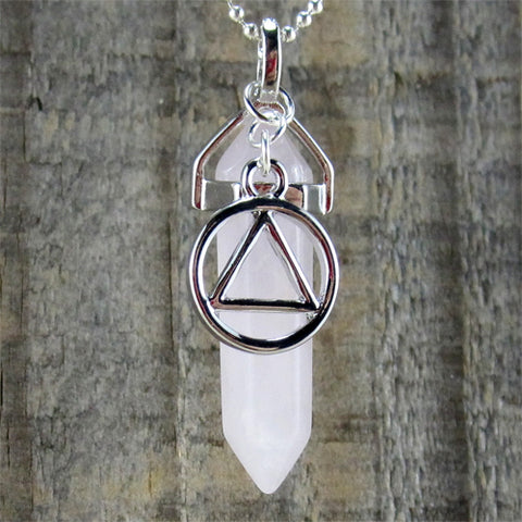 "Alcoholics Anonymous Rose Quartz Pendant - ""Relationships & Love"""