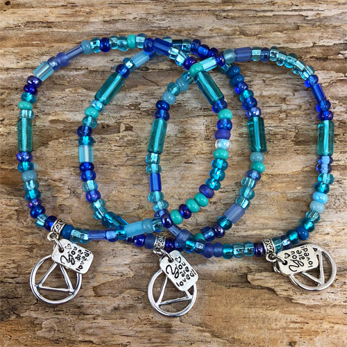 "AA -  ""Higher Power"" Ocean colored Czech beads stretch bracelet - ""You are loved"""