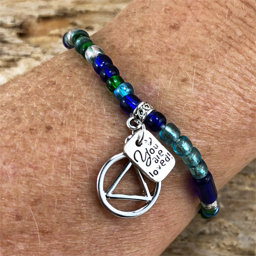 "AA ""Higher Power"" - Blue Green colored Czech beads stretch bracelet - ""You are loved"""