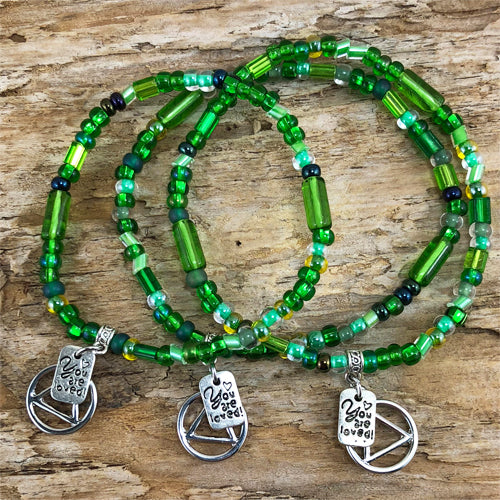 "AA -  ""Higher Power"" Green colored Czech beads stretch bracelet - ""You are loved"""