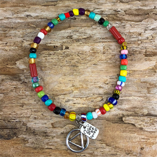 "AA -  ""Higher Power"" Multi colored African beads stretch bracelet - ""You are loved"""