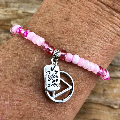 "AA -  ""Higher Power"" Pink colored Czech beads stretch bracelet - ""You are loved"""