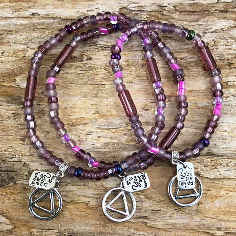 "AA -  ""Higher Power"" Plum colored Czech beads stretch bracelet - ""You are loved"""