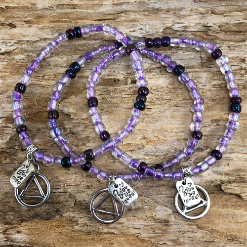"AA -  ""Higher Power"" Purple colored Czech beads stretch bracelet - ""You are loved"""