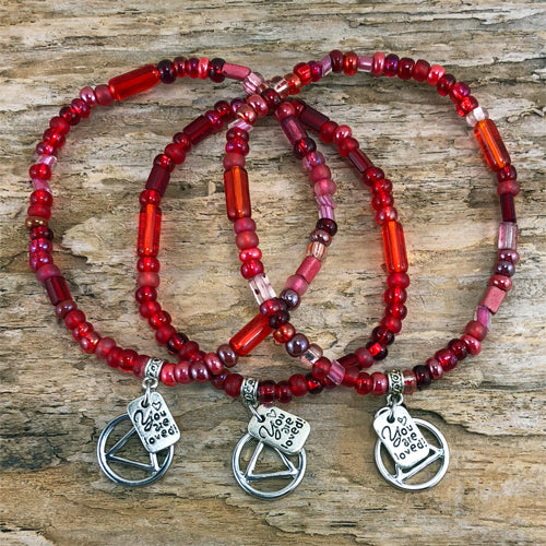 "AA -  ""Higher Power"" Red colored Czech beads stretch bracelet - ""You are loved"""