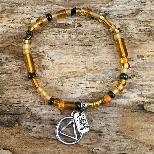 "AA -  ""Higher Power"" Golden Yellow colored Czech beads stretch bracelet - ""You are loved"""