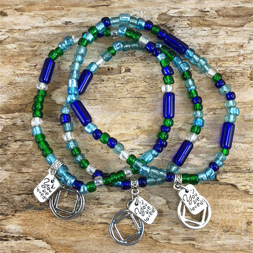 "NA -  ""Higher Power"" Blue Green colored Czech beads stretch bracelet - ""You are loved"""