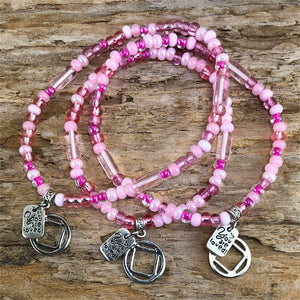 "NA -  ""Higher Power"" Pink colored Czech beads stretch bracelet - ""You are loved"""