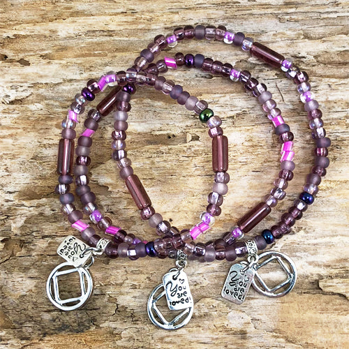 "NA -  ""Higher Power"" Plum colored Czech beads stretch bracelet - ""You are loved"""