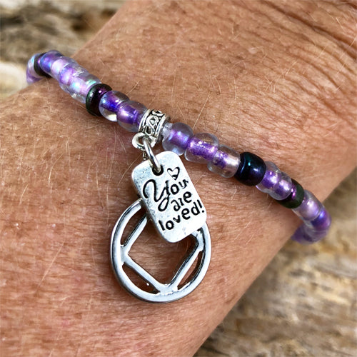 "NA -  ""Higher Power"" Purple colored Czech beads stretch bracelet - ""You are loved"""